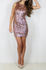 Rose Gold Sequin Backless Dress