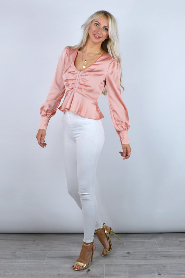 Tammy Satin Peplum Top in Rose