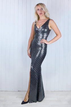 Phillipa Black & Silver Sequin Dress