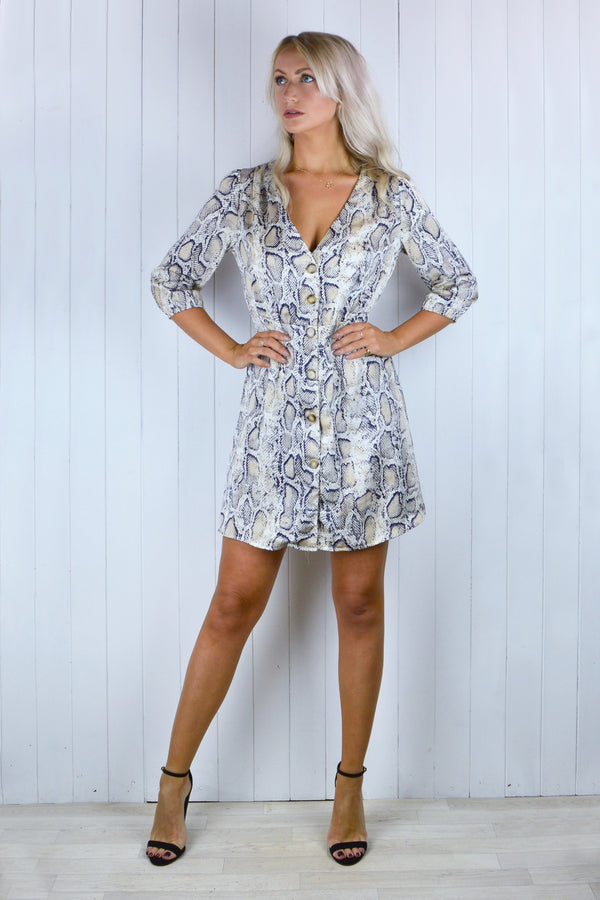 Susan Button Down Silver Snakeskin Print Dress