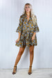 Tania Snakeskin Smock Ruffle Dress