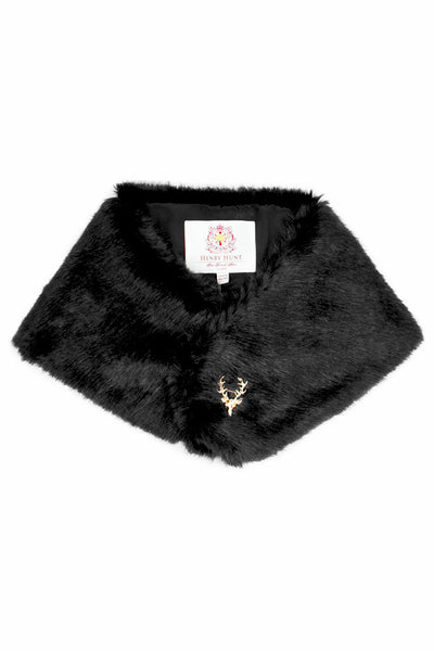 Stag Black Faux Fur Stole