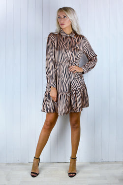 Holly Tiger Print Smock Shirt Dress