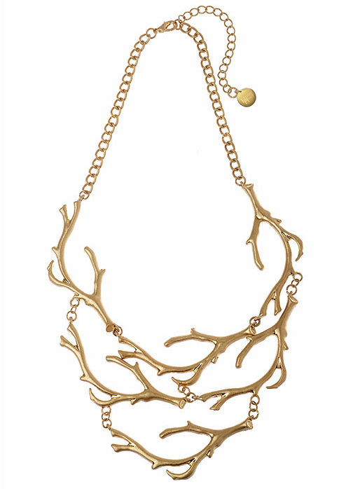 Brushed gold Twig Necklace