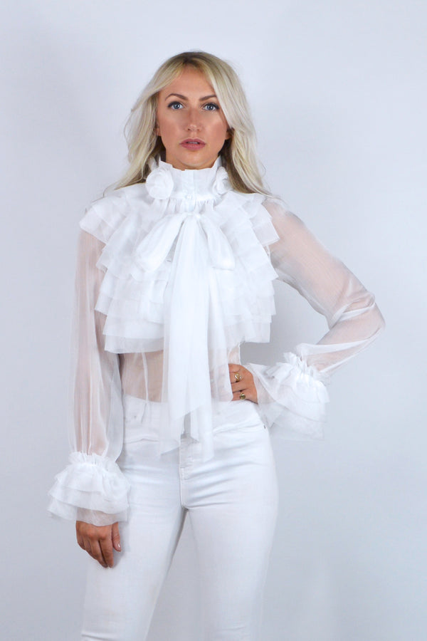 Darcy Ruffle Pussy Bow Chiffon Blouse in White
