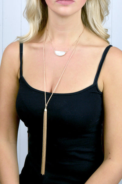 White Stone and Tassel Necklace