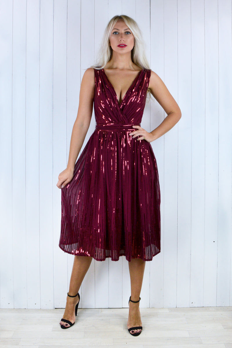 Alice Wine Midi Sequin Gathered Dress
