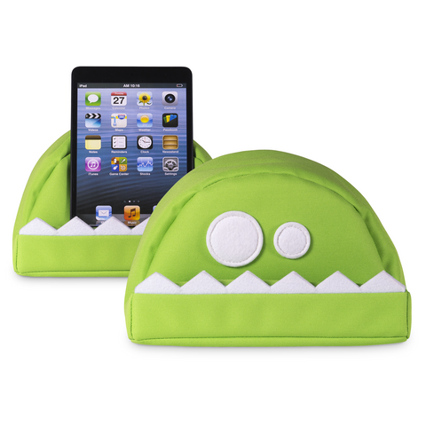 the green fläzbag cushion with an ipad (mini)