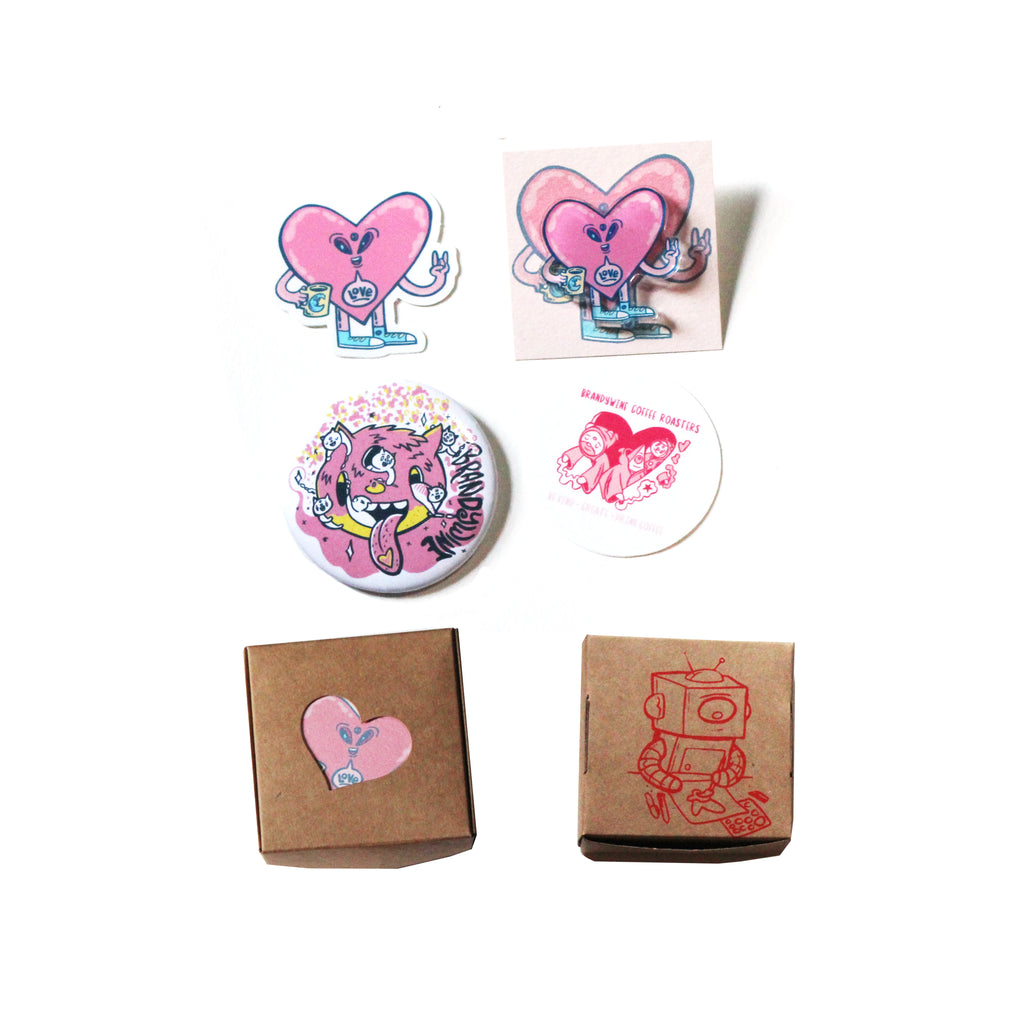 Heart Sticker / Pin Set