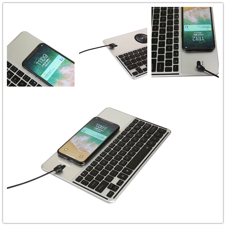 Mini Bluetooth Keyboard with QI Wireless Charger