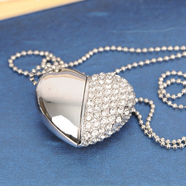 Hidden USB Heart Necklace