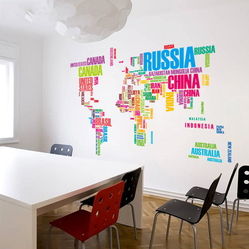 New Design World Map Wall Sticker