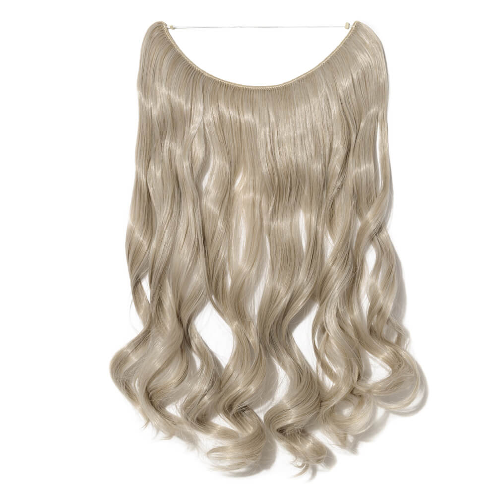 ash blonde silver gray mix hair extensions curly