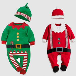 Cute Baby Jumpsuit - Santa Claus and Christmas Elf