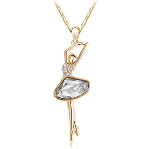 Gold/Silver Plated Rhinestone Crystal Ballerina Necklace