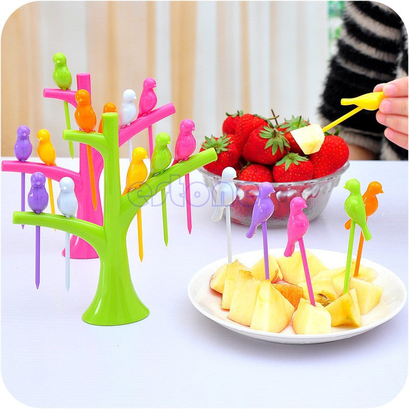 6Pcs/set Colorful Bird Shape Dessert Forks and Tree Shape Holder