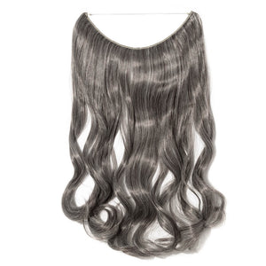 dark brown silver gray mix hair extensions curly