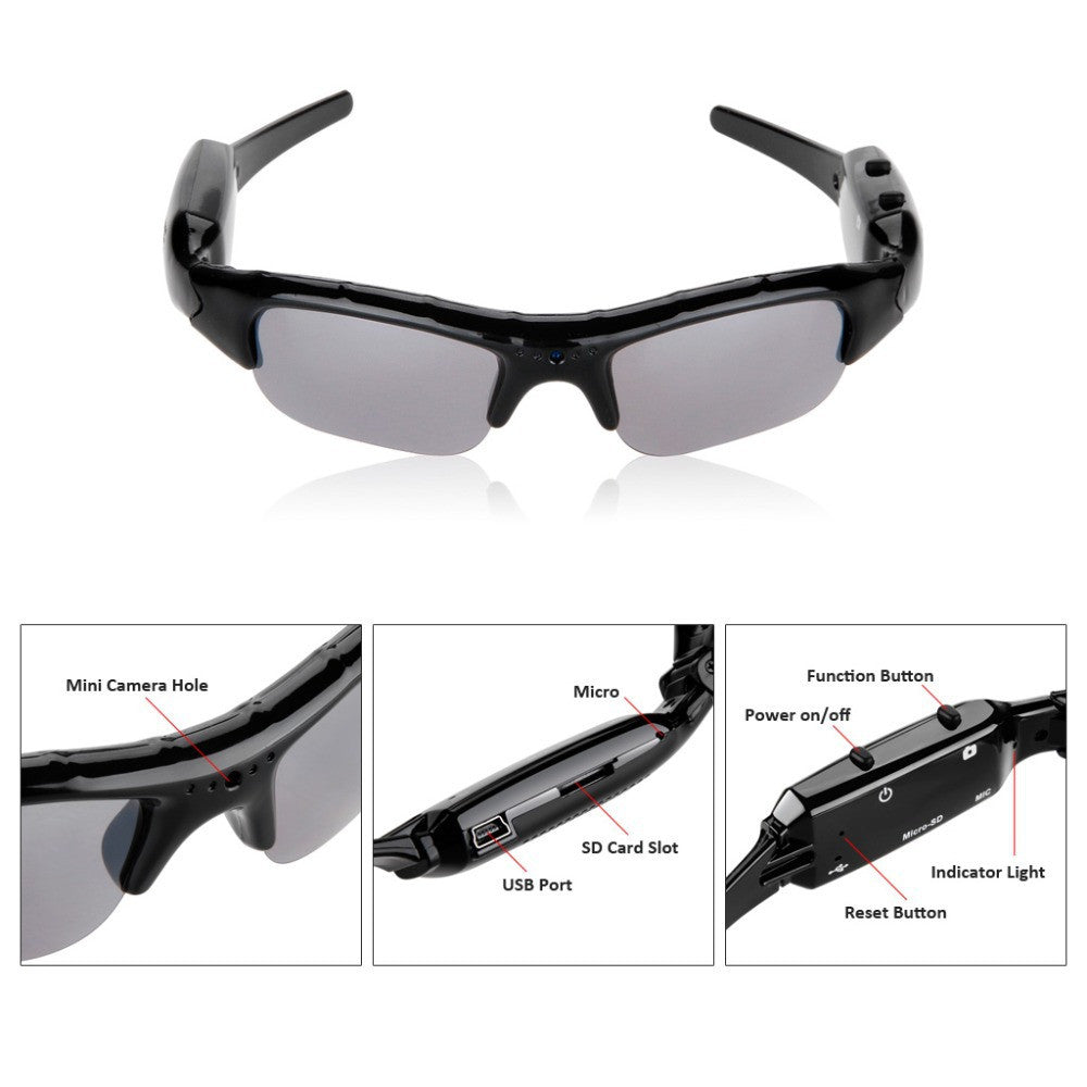 Action Sports Sunglasses with integrated mini camera
