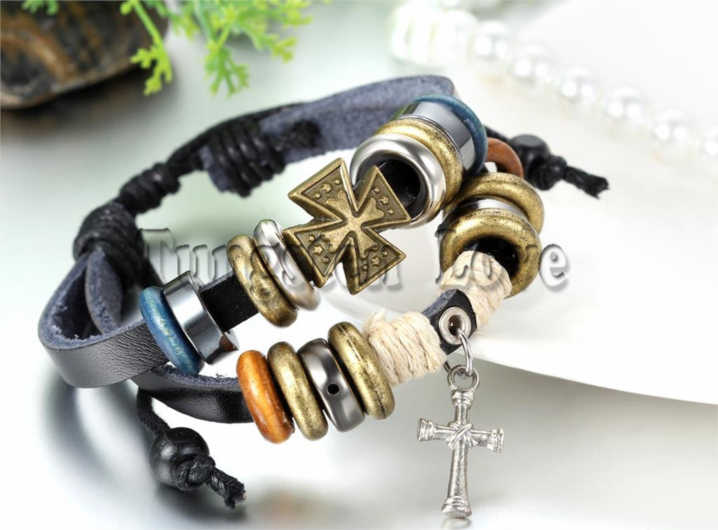 Leather Cross Bracelet with wooden and alloy beads