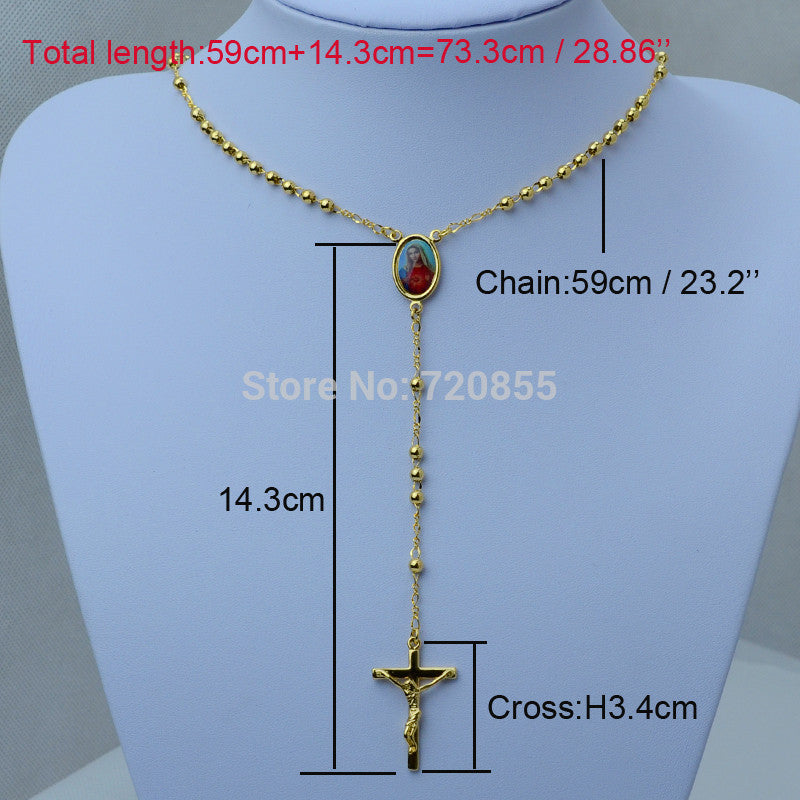Virgin Mary and Jesus Rosary Chain Necklace