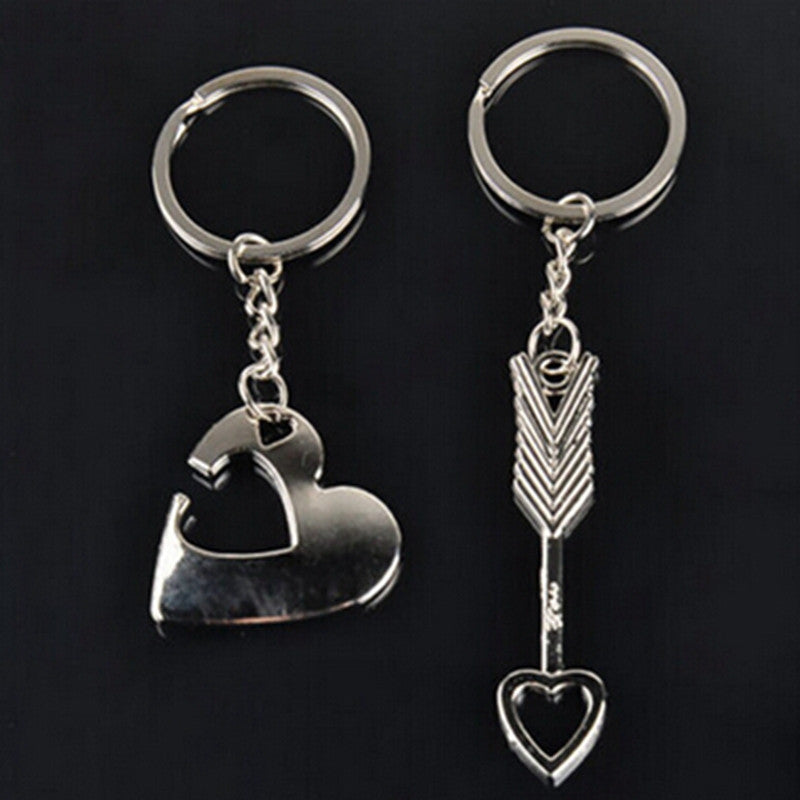 Romantic Couple Keychain - Cupid's Heart & Arrow
