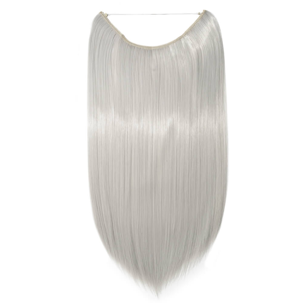 silver gray hair extensions straight