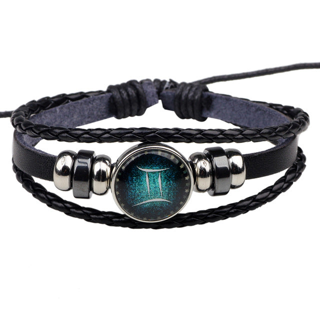 Zodiac Sign Leather Bracelet