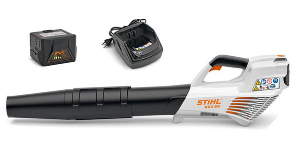 STIHL BGA56 Compact cordless blower with battery and charger.