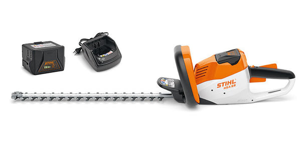 STIHL HSA56C Compact cordless hedge trimmer with battery and charger.