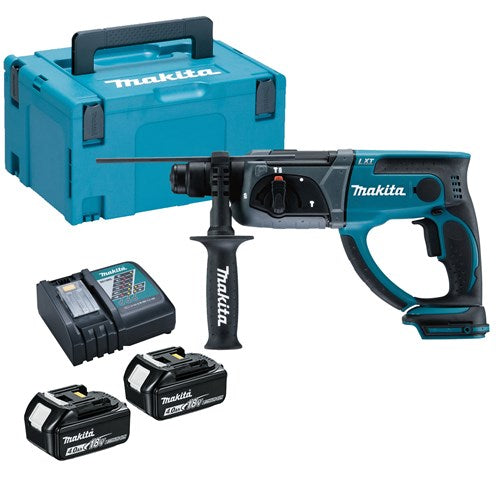 Makita DHR202RM1J 18V Cordless li-ion SDS+ Rotary Hammer Drill comes with 1 x 4Ah Battery, Side handle, Depth Stop, DC18RC Charger and Makpac Carry Case