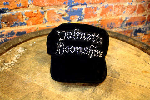 BLACK CADET HAT WITH BLACK RHINESTONES