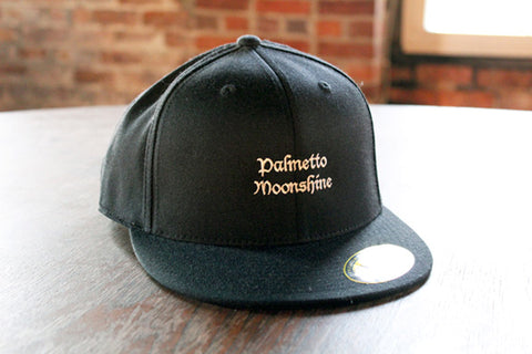 PALMETTO MOONSHINE FLAT BILLED HAT - BLACK