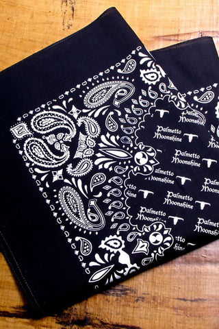 BLACK BANDANA WITH PALMETTO MOONSHINE LOGO