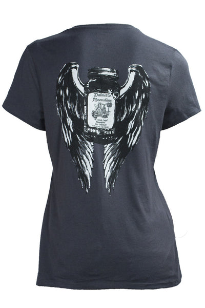 LADIES V NECK TEE SHIRT WINGS DESIGN