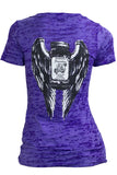 LADIES DEEP V TEE SHIRT WINGS DESIGN
