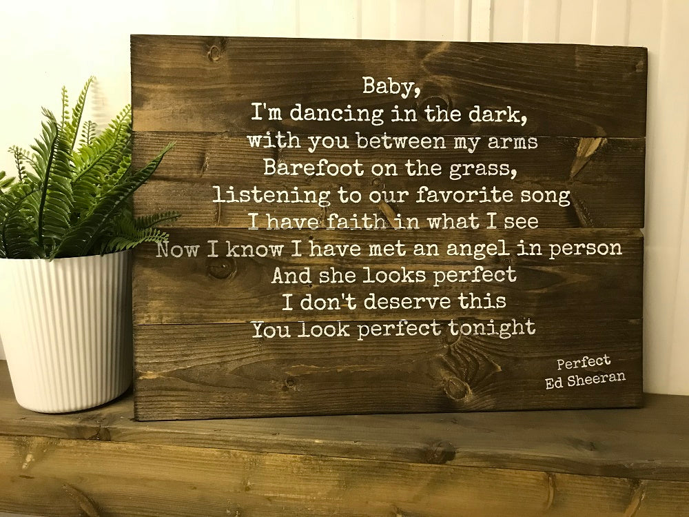 First Dance Lyrics Wedding Vows Quote Plaque Crates4youcom