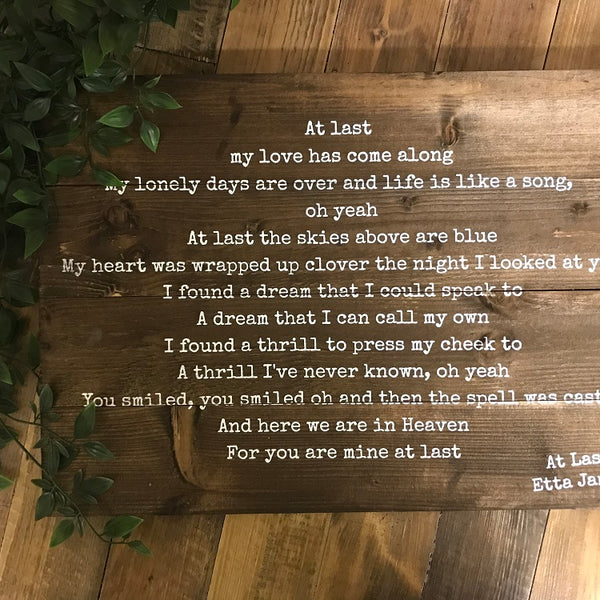 First Dance Lyrics / Wedding Vows / Quote Plaque