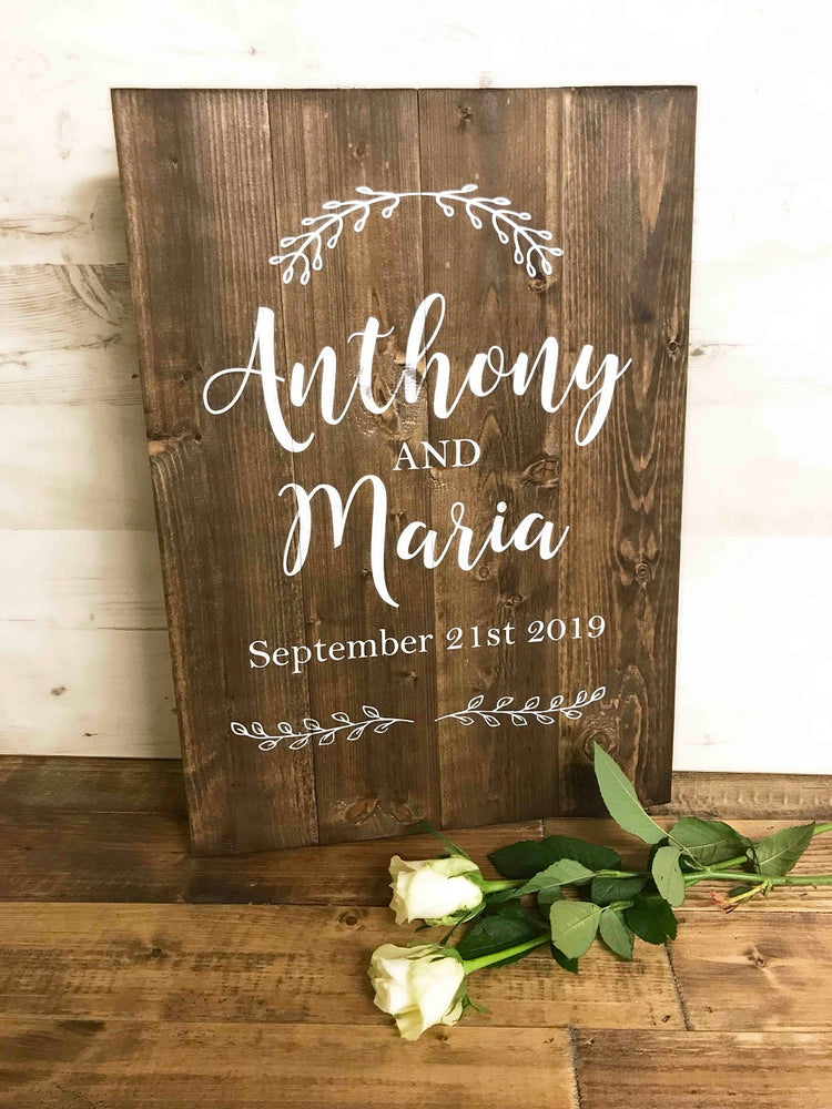 Wedding Sign - Personalised - Laurel Border