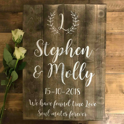 Wedding Sign - Personalised - Soulmates Forever