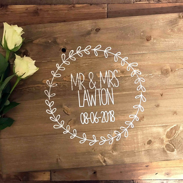 Wedding Guest Book Plaque - Personalised Wreath