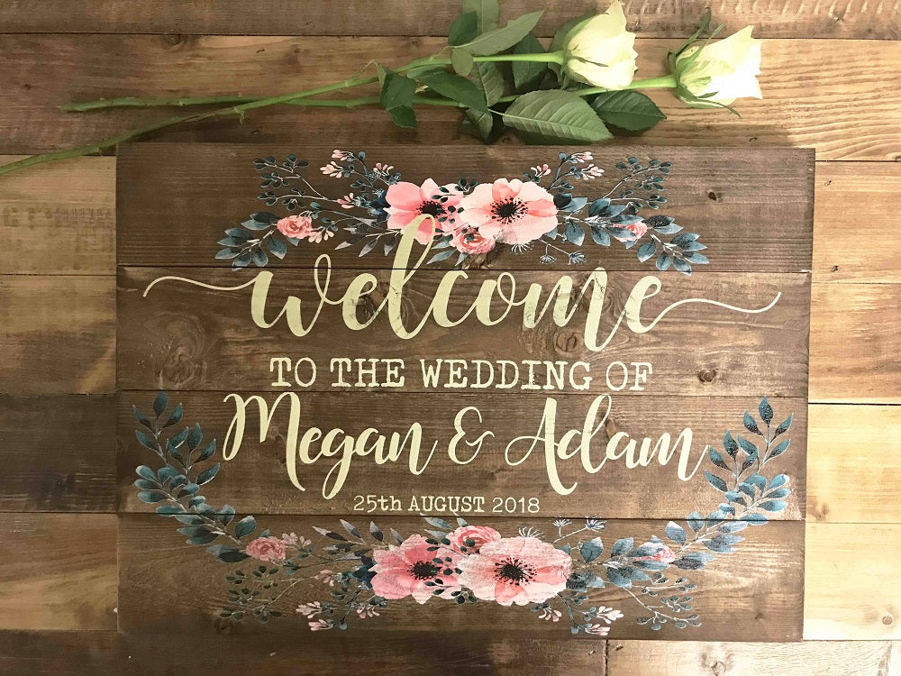 Wedding Sign - Personalised - Floral Border