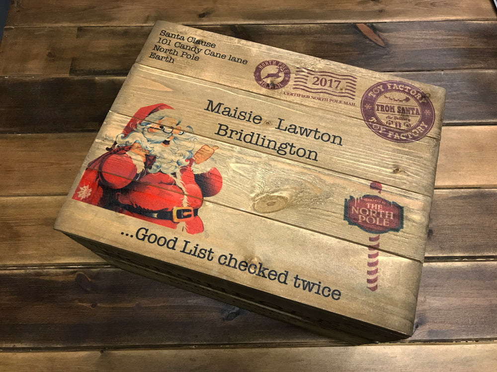 Christmas Box with lid - Personalised - Traditional Wood Stain