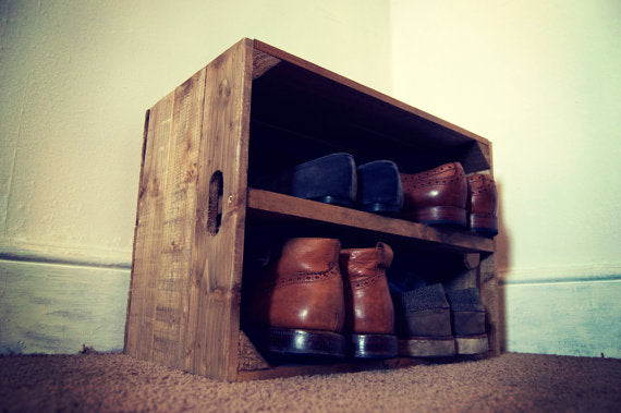 Shoe Storage Crate with Shelf