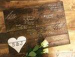 Wedding Guest Book Plaque - Personalised Small Heart