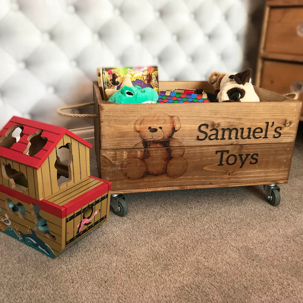 TEDDY TOYBOX CRATE (INCLUDES CASTORS)