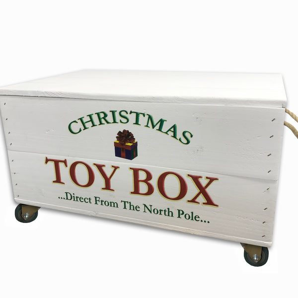 White Christmas Toy Box with Lid & castors - Personalised