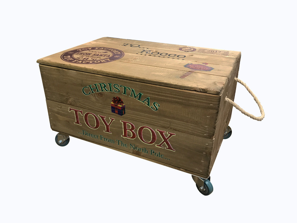 Christmas Toy Box with Lid & Castors - Personalised
