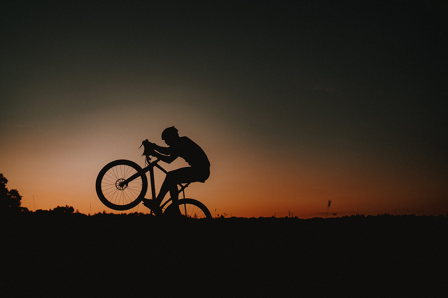 Cyclist in Silhouette doing a wheely