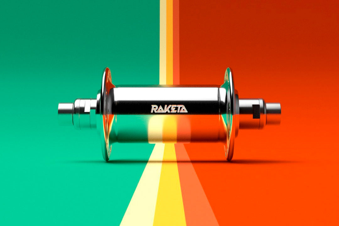 A Raketa hub on a coloured background