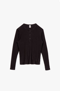 RE/DONE Women's Long Sleeve Henley T-Shirt  - XHIBITION